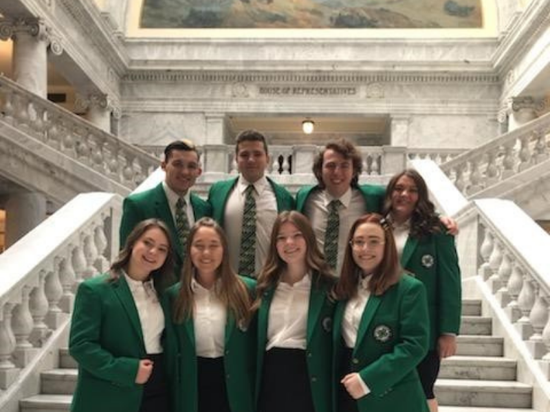 4-H Youth standing in state capital