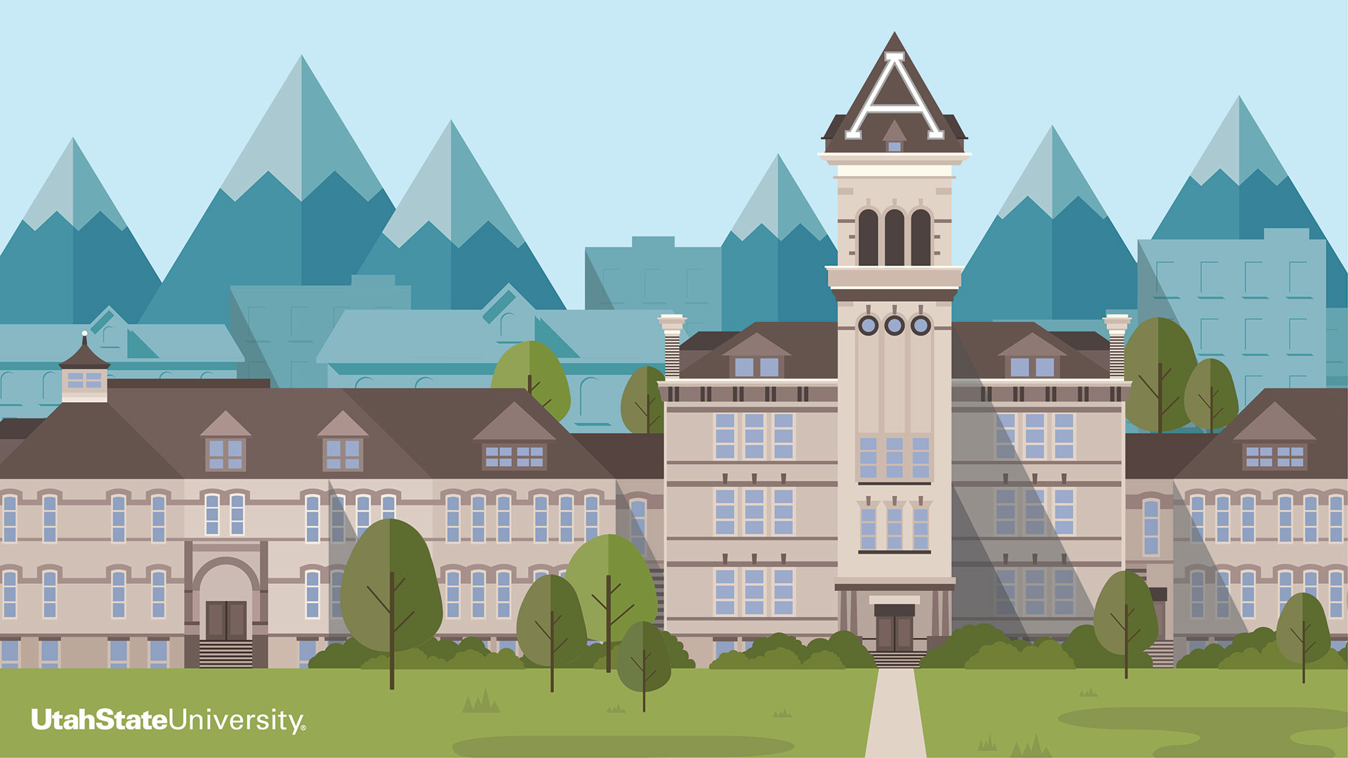 Old Main illustration - Extension Zoom background