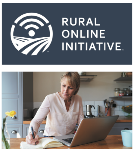 rural online initiative logo and woman writing in a notebook