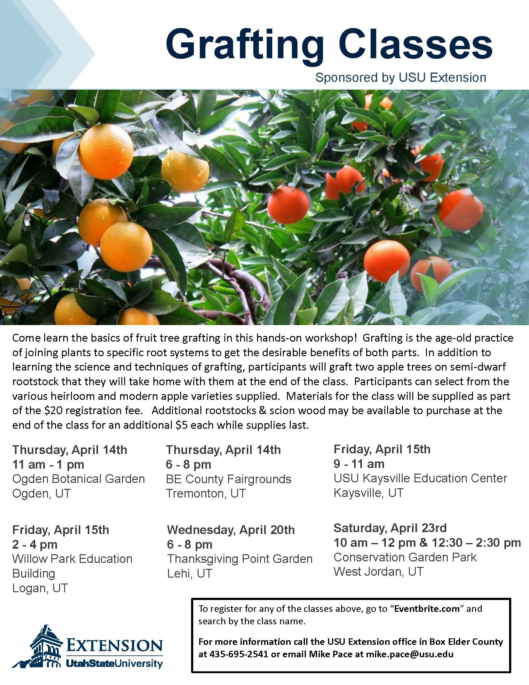 Sign Up For Classes At The Conservation Garden Park! CLICK HERE