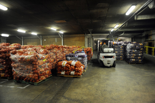 Onions stored in a warehouse in Davis County, Utah (Salt Lake Tribune)